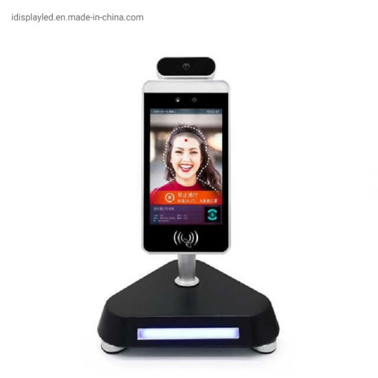 8 Inch LCD Screen Facial Card Access System Body Temperature Measuring Face Recognition