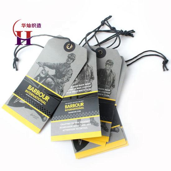 Cheap Custom Design Printing Name Logo Paper Clothing Garment Hang Tag with String and Eyelet