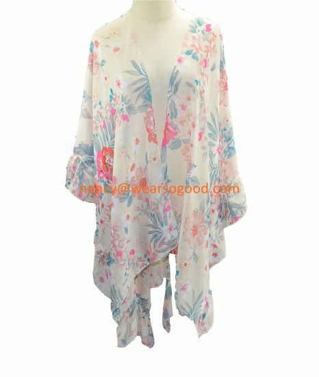 BSCI Multi-Wear Cardigan Flouncing Lace Women Beach Shawl pictures & photos