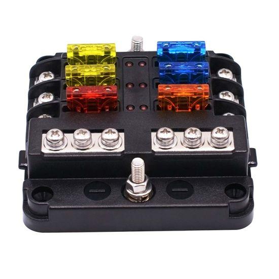 6 Way Car Auto Boat Marine Fuse Box Block Cover 12V with LED Indicators
