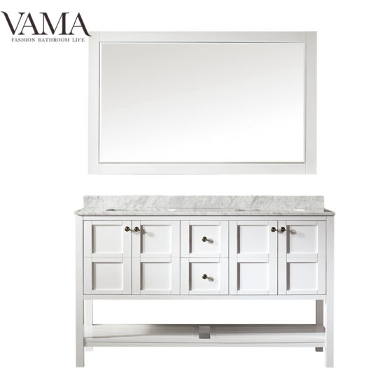 Vama 60 Inch Double Bowls American Style Bathroom Furniture with Mirror 713060
