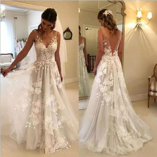 2019 Bridal Gowns Lace V-Neck A-Line Tulle Wedding Dress A095