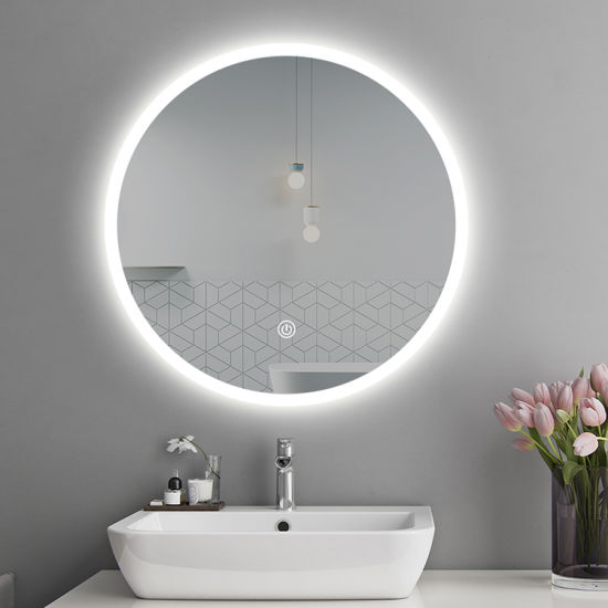 Hotel Washroom Bathroom Wall Mounted Decorative Round LED Lighted Mirror Factory pictures & photos