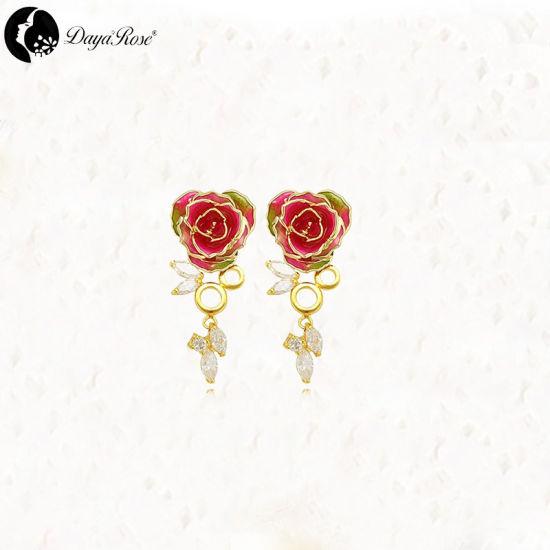 42b243389c0805 China Colour Diamond Gold Rose Earrings (fresh rose) - China Gold ...