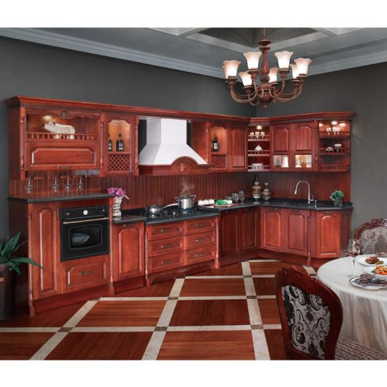 Red Cherry Wood Kitchen Cabinets: China Oppein Red Cherry Solid Wood Kitchen Furniture (OP12