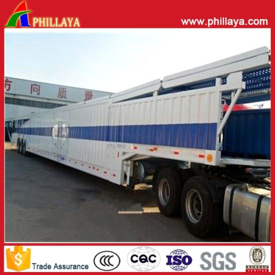Three Axis Semi Closed Trailer Car Carrier Auto Hauler pictures & photos