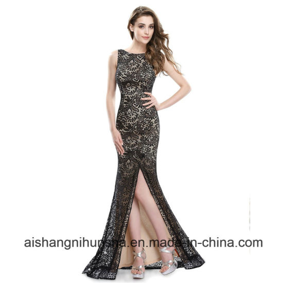 Long Mermaid Evening Dresses Sexy Split Celebrity Lace Prom Dress