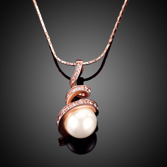 Fashion Rose Gold Pearl Drop Pendant Necklace Eco-Friendly Jewelry pictures & photos