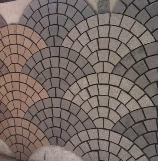 Fan Shaped Mosaic Floor Tiles Kerbstone Cube Stone