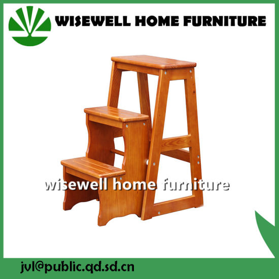 Living Room Folding Wood Kitchen Step Stool