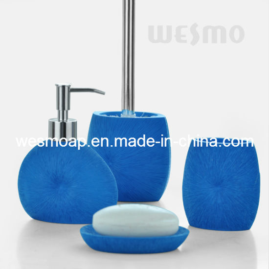Royal Blue Polyresin Bathroom Sets (WBP0343A)