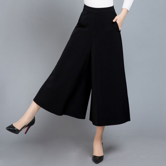 Women′s Black Polyester Stretch Pleated Fashion Culottes Pants pictures & photos