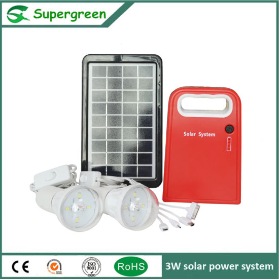 Small Appearance Solar Homme Lighting 3W Solar DC Power System pictures & photos