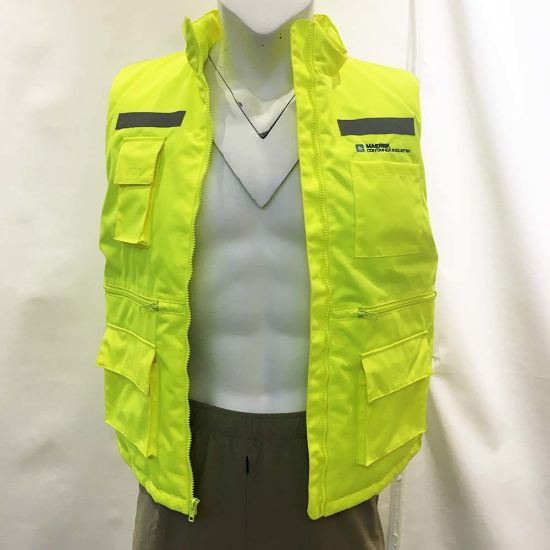 Waterproof Winter Padded Lining Functional Pocket High Visibility Body Warmer Safety Clothing