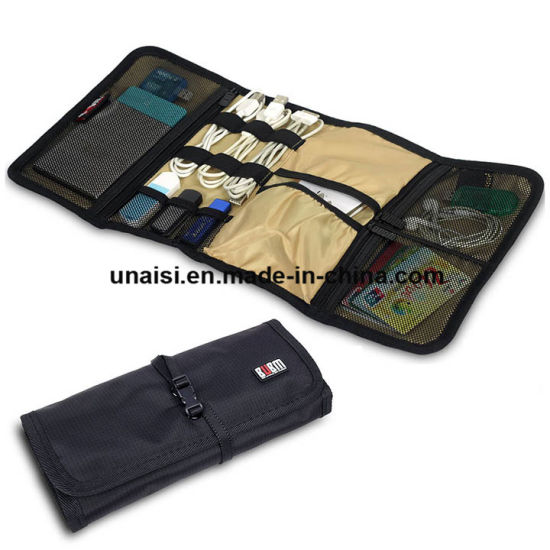 5ca883fa864c Roll up Travel Organizer for Electronics Accessories  USB Flash Drive Cable