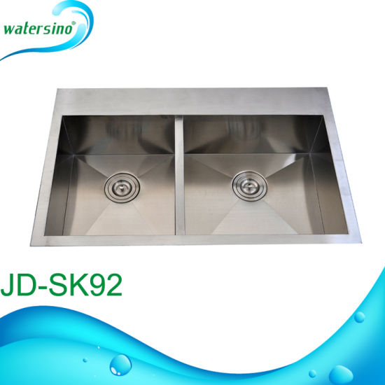 Jd-Sk90 Moderate Price Rectangular Stainless Steel Kitchen Sink Double Bowl pictures & photos