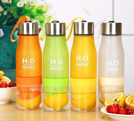 Outdoor Sports BPA Free Plastic H2O Fruit Infuser Water Bottle Lemon Juice Water Bottle with Rope