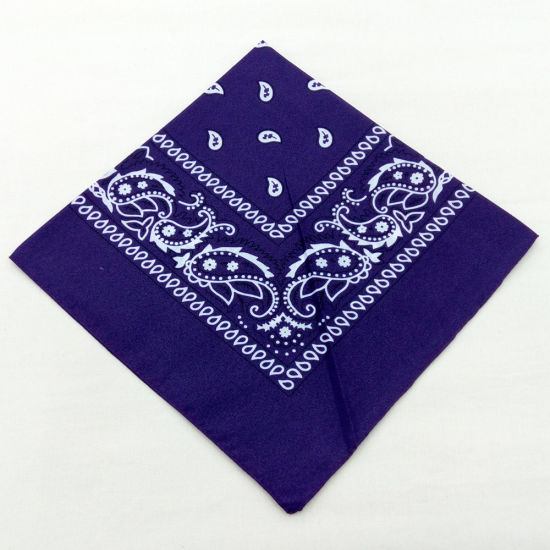 Hot Selling Customized Logo OEM Silk Screen Printed 100% Cotton Soft Headwear Square Paisley Bandana