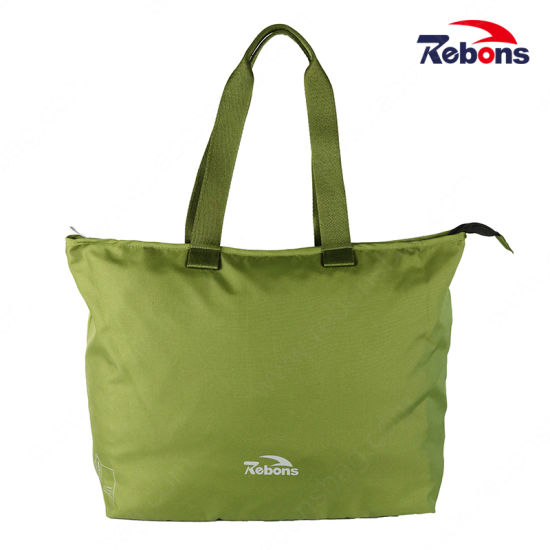 High Quality Big Women Tote Hand Bag with Zipper for Shopping