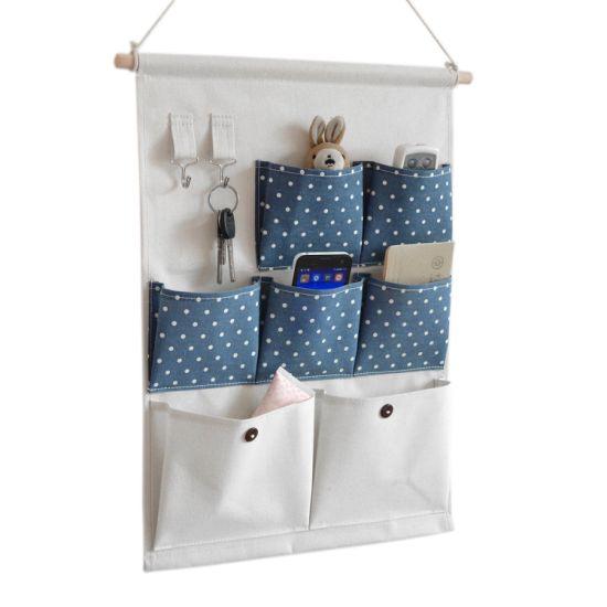 7 Pockets Door Closet Storage Case Canvas Fabric Hanging Wall Organizer