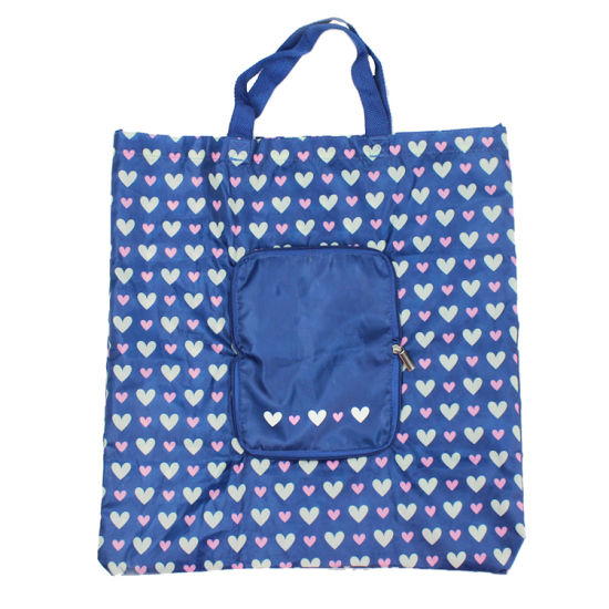 China Wholesale Heart Printed Nylon Foldable Tote Bag with Zipper ... f6f4dbb961d0