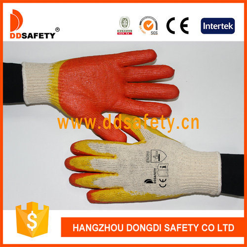 Orange and Yellow Latex Coated Safety Cotton Gloves