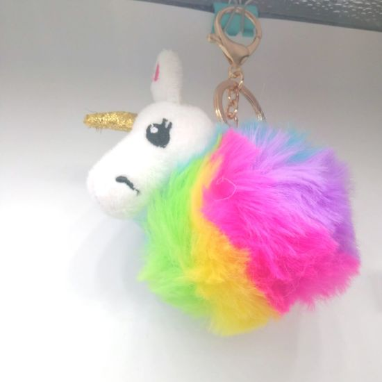 Pompom Unicorn Horn Keychain Car Bag Phone Key Ring Fur Unicorns Horse Keychains pictures & photos