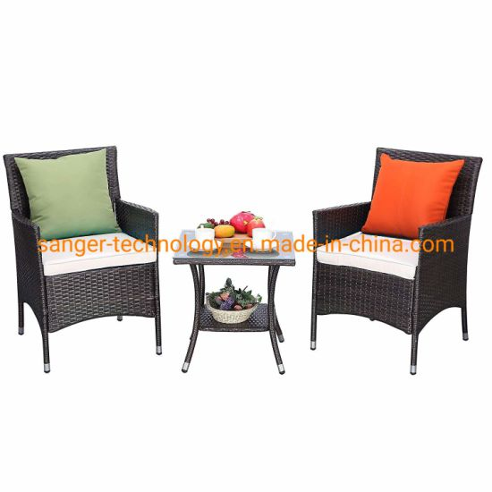 Bistro Patio Furniture.3 Pieces Patio Furniture Set Outdoor Wicker Conversation Set Cushioned Pe Wicker Bistro Set Rattan Chairs With Coffee Table Porch Backyard Dining