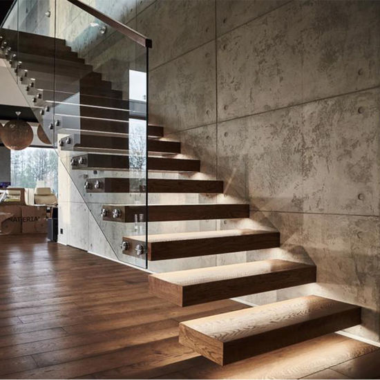 Wood Straight Staircase Design for Interior