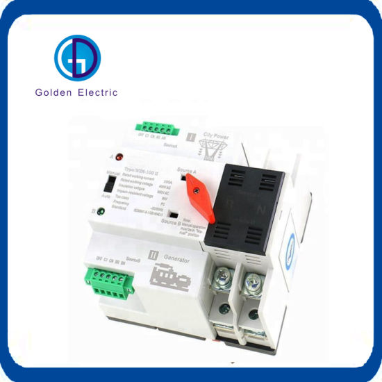 2018 New Mini ATS Automatic Transfer Switch W2r Electrical Selector Switches Dual Power Switch 100A DIN Rail Type