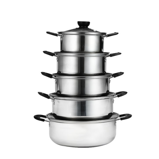 10PCS Best Selling China Factory Wholesale Metal Stainless Steel Pot Cooking Set Camping Milk Pot pictures & photos