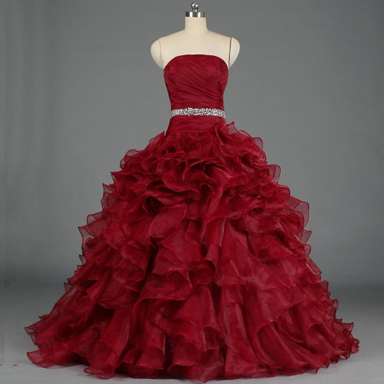 Women's Pretty Ball Gown Quinceanera Ruffle Prom Party Evening Dresses E378