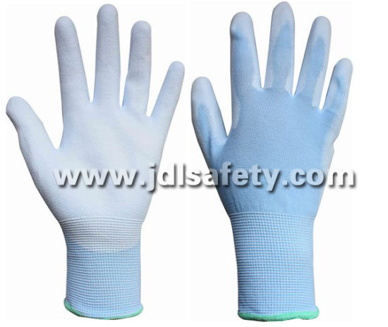 Blue Nylon Work Glove with PU Palm Coated (PN8004B)