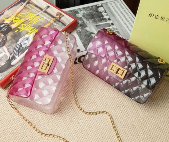 in Stock High Quality Designer PVC Jelly Bag, PVC Jelly Handbags for Lady, Ladies Fashion Mini Bags