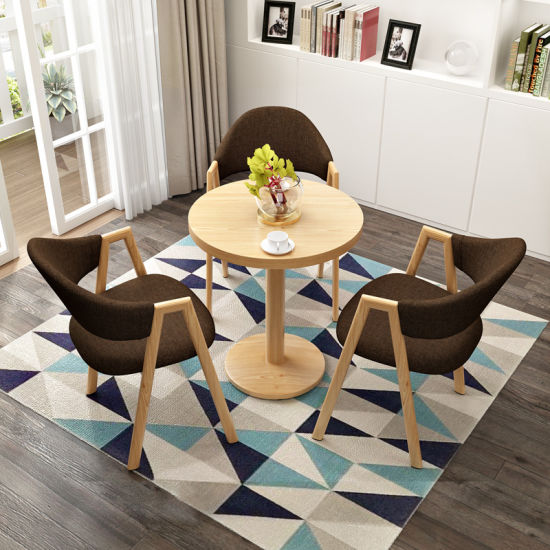 New Wholesale Wooden Home Office Furniture Hotel Salon Living Dining Room Restaurant Table and Leather Chair Set
