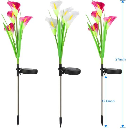 3 Pack Solar Lights Outdoor Garden Stake Flower Lights with Total 12 Lily Flower.