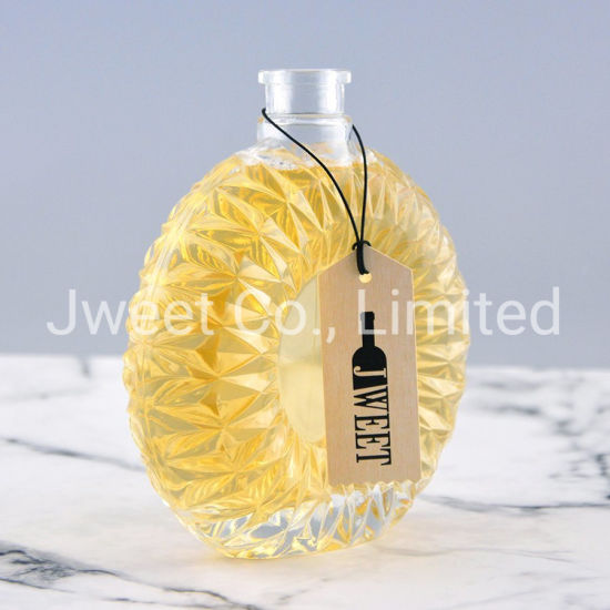 500ml Custom Extra Flint Glass Bottle with Cork Top for Brandy