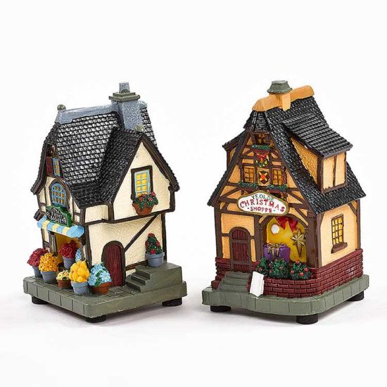 Colorful LED Lighted Flower Shop Ornaments Polyresin Lighted House
