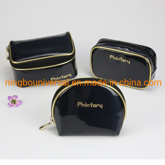 Wholesale Luxury Black Shiny PU Toiletry Cosmetic Bag Travel Bag pictures & photos