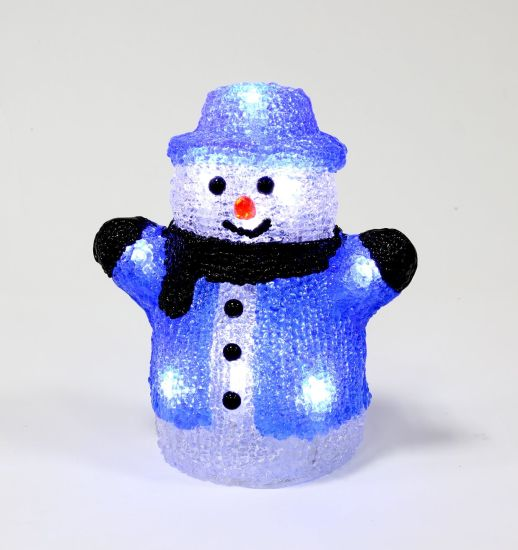 Acrylic Snowman Christmas LED Decoration Lighting with The Scarf