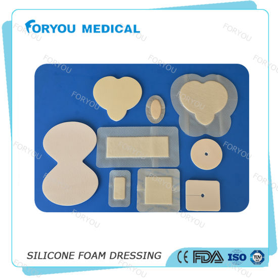 "Antibacterial Dressing Silicone AG Silver Foam Dressing 4"" X 4"" pictures & photos"