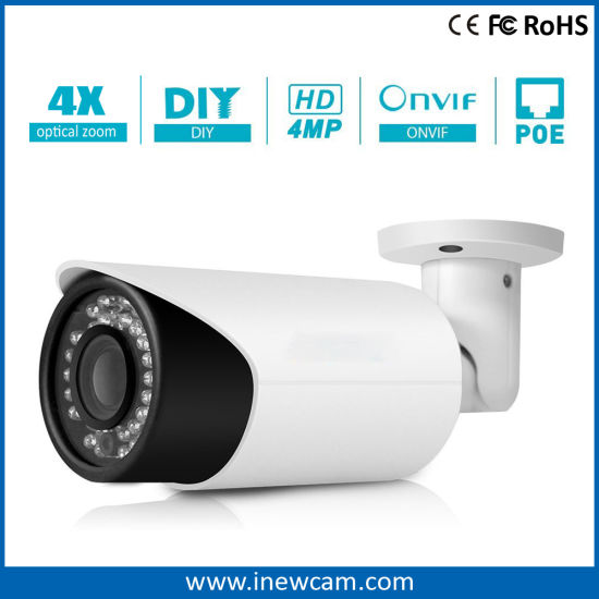 Latest 4MP Motorized 6X Digital Zoom Bullet Poe IP Camera pictures & photos