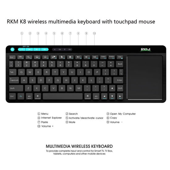 Rkm K8 Wireless Mini Keyboard with Mouse Combo, Touchpad. pictures & photos