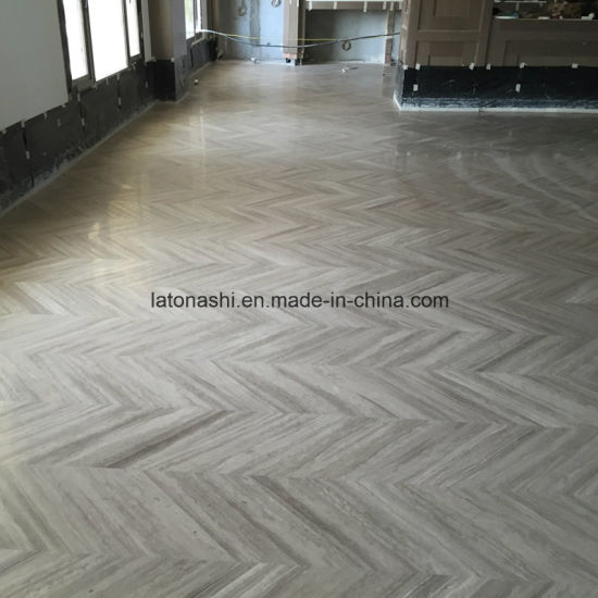 China White Wood Grain Light Grey Marble Tiles For Lounge Floor Wall