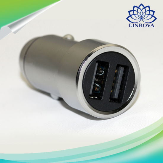 Fast Charging Dual USB Port Car Charger Metal Style- Silver pictures & photos