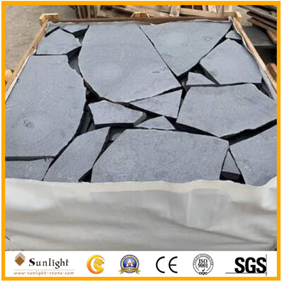 China Natural Stone Irregular Black Yellow Grey Slate Basalt