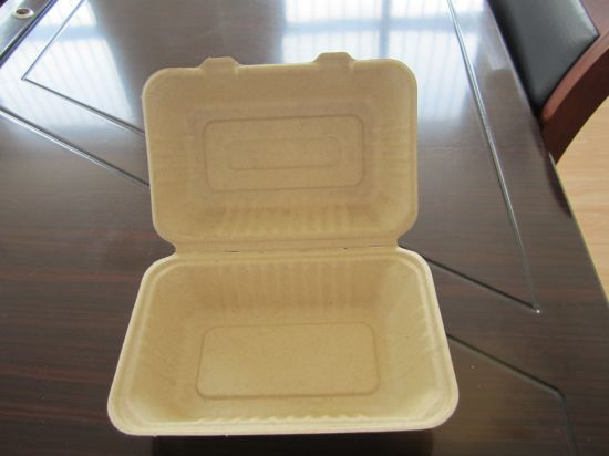 Biodegradable Sugarcane Clamshell for Hamburger pictures & photos
