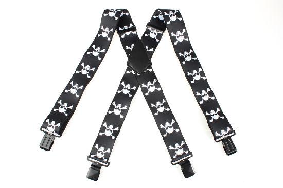 New Fashion Men's Braces 4 Clips Printing Skull Suspenders (SR-22)