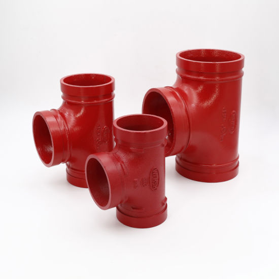 "Ductile Iron ASTM A536 Grade 65-45-12 Grooved Pipe Fittings Grooved Equal Tee 4"" 114 Standard Radius for Fire Protection System"