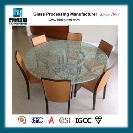 America Popular Cracked Ice Laminated Glass Table Top, Decorative Broken  Glass Table Top For Home Furniture